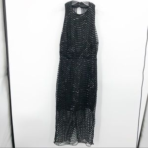Boohoo Black Sequined Cage Dress Size 8